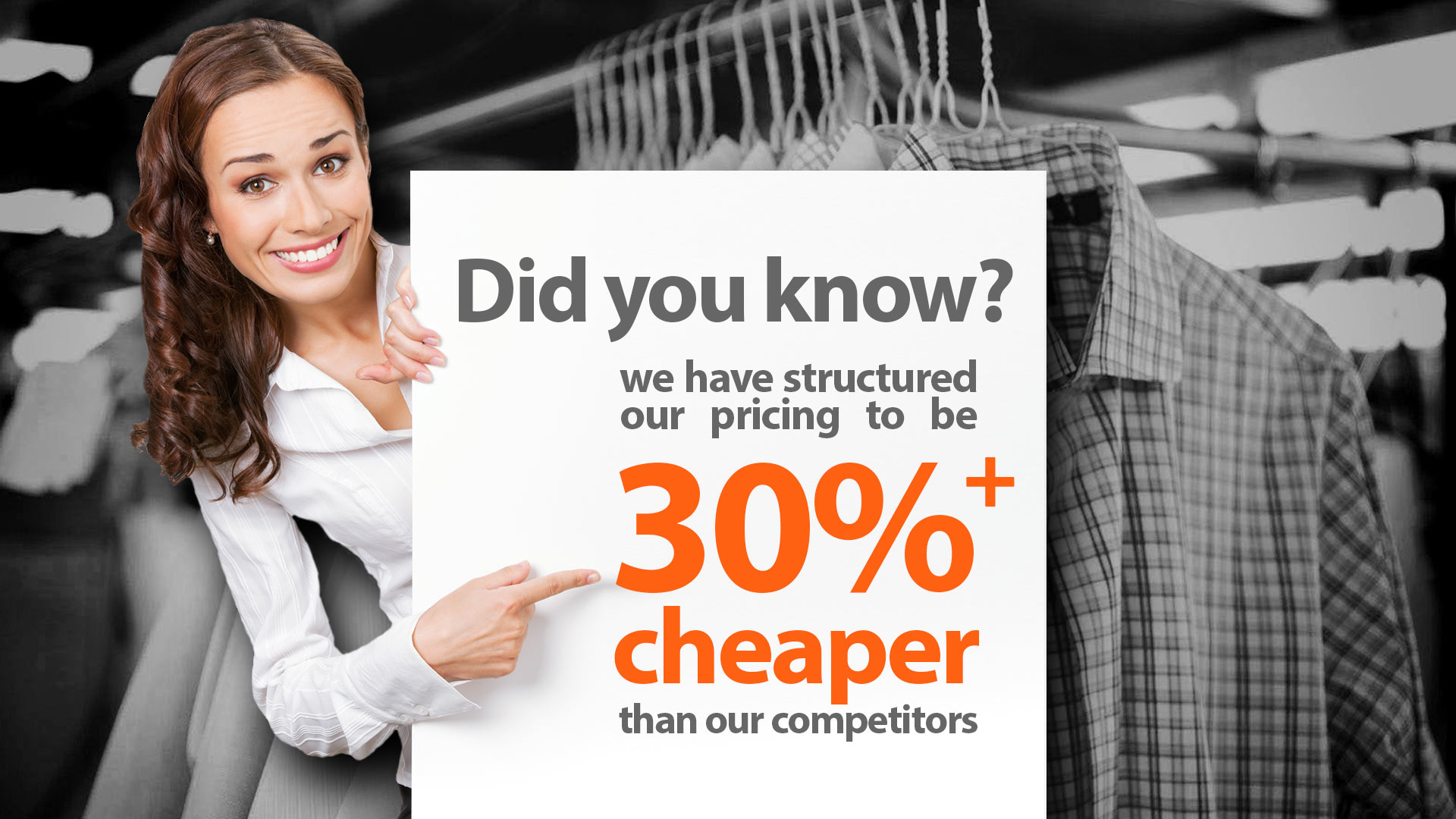 30% cheaper dry cleaning and laundry services
